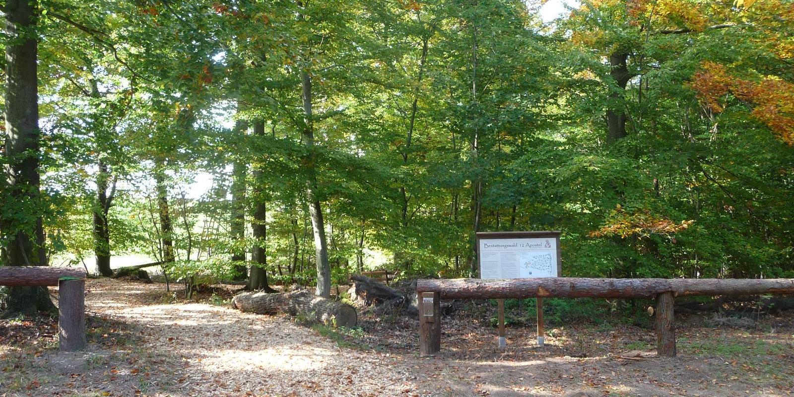 Eingang zum Bestattungswald 12 Apostel