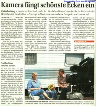 Artikel in Darmstädter Echo über Aufnahmen des hr-fernsehens in Fischbachtal für die Sendung Herrliches Hessen am 30.06.2009